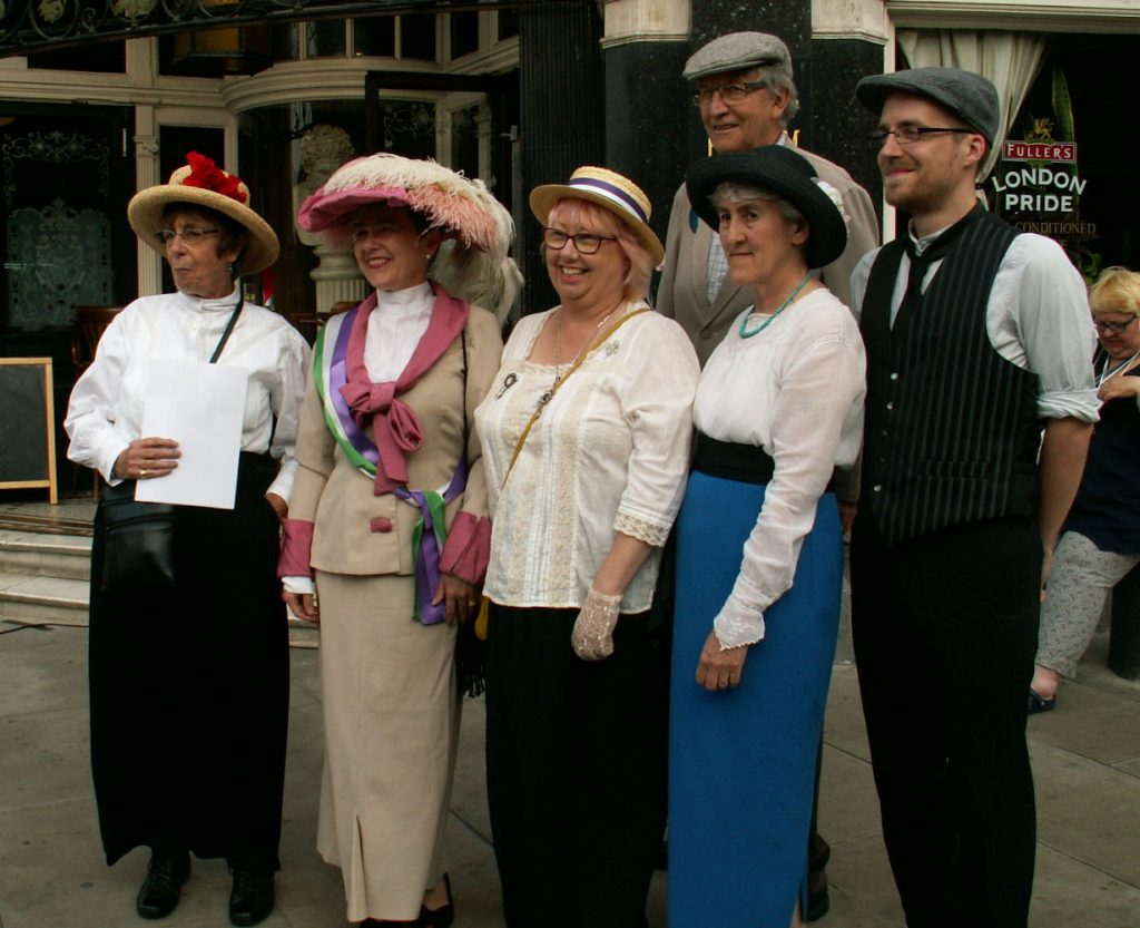 Peace campaigners in Victorian garb