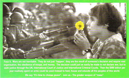 Girl with flower facing soldiers with bayonets