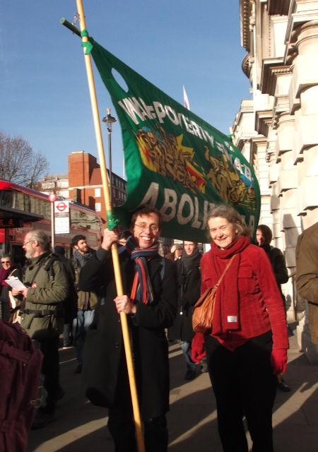 Sally & banner in London