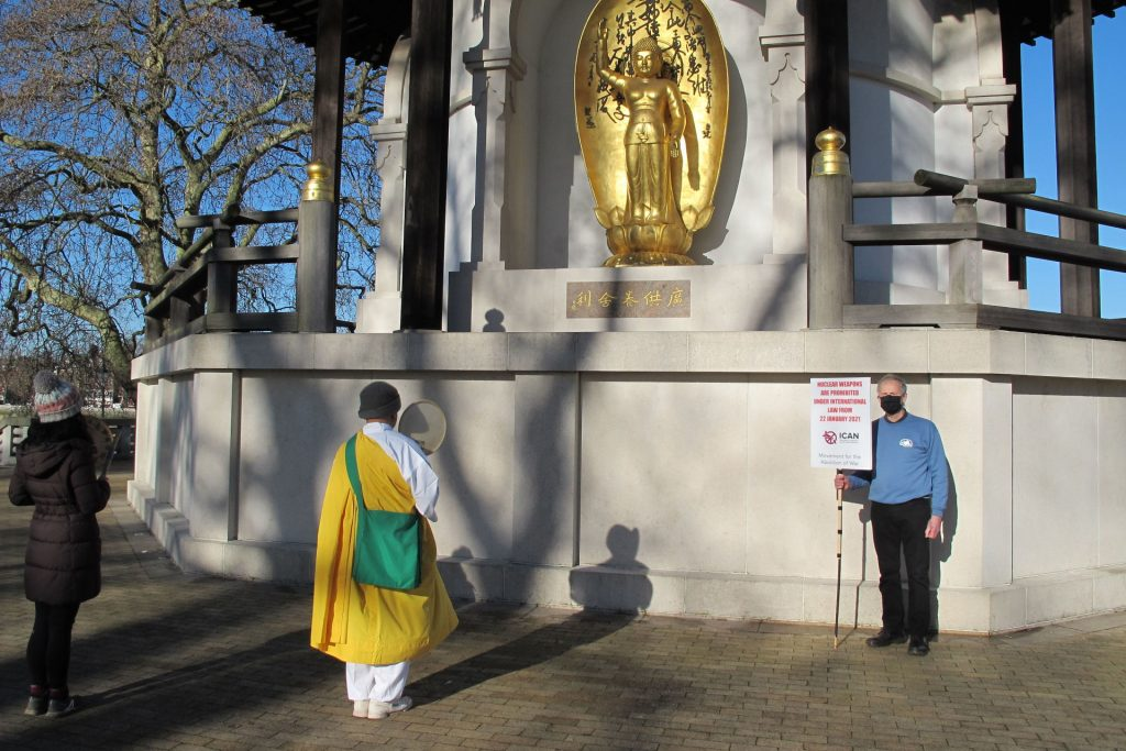 Revd Nagase, David Collins, at the Peace Pagoda in Battersea Park, London, 22/01/21