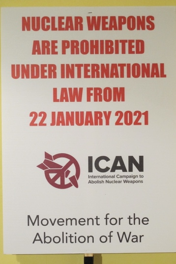 Banner: Nuclear weapons are prohibited under international law from 22 January 2021